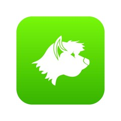 Terrier dog icon digital green for any design isolated on white vector illustration