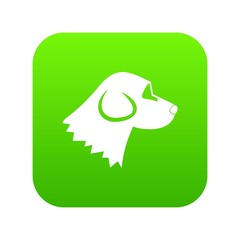 Beagle dog icon digital green for any design isolated on white vector illustration