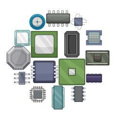 Computer chips icons set. Cartoon illustration of 16 computer chips vector icons for web