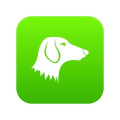 Dachshund dog icon digital green for any design isolated on white vector illustration