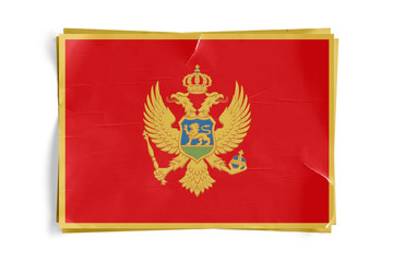 Montenegro Flag on Torned Wrinkled Crumbled Paper Posters