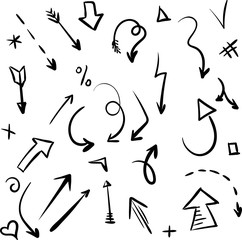 Black hand-drawn arrows and signs isolated on white.