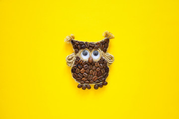 Coffee Owl Coffee Beans Isolated Bright Colorful Yellow Monochrome Background