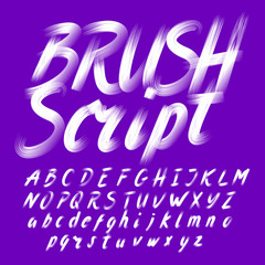 Hand drawn brush stroke alphabet. Uppercase and lowercase. Letters and numbers. Stock vector typeface.