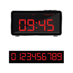 digital clock illustration and set of glowing numbers in red