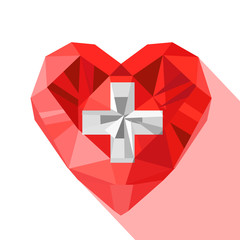 Vector crystal Swiss heart flag of the Swiss Confederation.