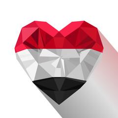 Vector crystal gem Yemeni heart with the flag of the Republic of Yemen. Flat style logo symbol of love Yemen.