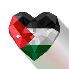 Vector crystal gem jewelry Jordanian heart the flag of  Jordan.