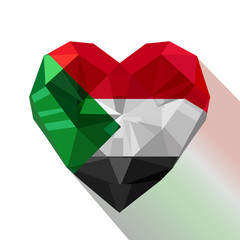 Vector Sudanese heart with the flag of the Republic of the Sudan.