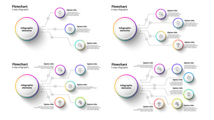Business process chart infographics with 3 to 6 step segments. Circular corporate timeline infograph elements. Company presentation slide template. Modern vector info graphic layout design.