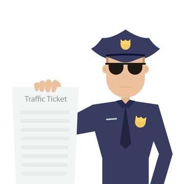 road patrol officer is holding traffic ticket
