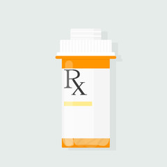 Prescription bottle vector. Clipart image isolated on white background
