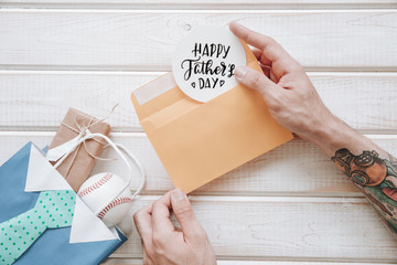 Decorative fathers day composition with envelope