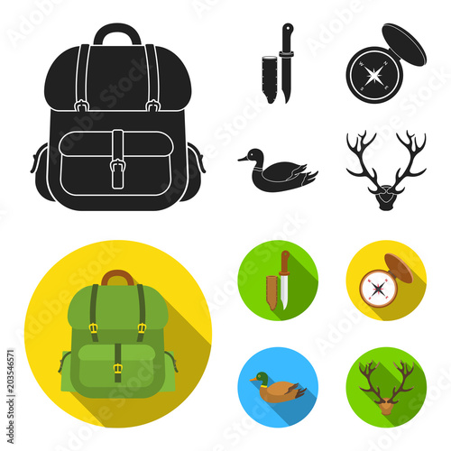 knife with a cover a duck a deer horn a compass with a lid