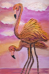 "Children's drawing gouache and putty  ""Pink Flamingos """