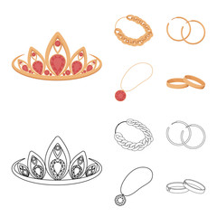 Tiara, gold chain, earrings, pendant with a stone. Jewelery and accessories set collection icons in cartoon,outline style vector symbol stock illustration web.