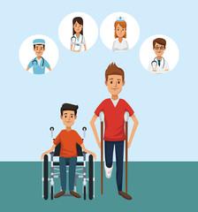 Patient with round medical symbols cartoons vector illustration graphic design