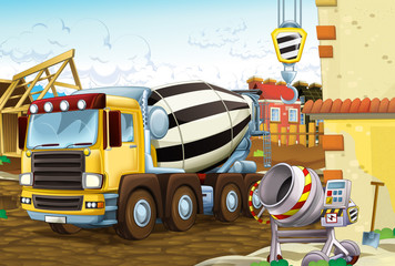 cartoon scene with industry vehicle - concrete mixer and other machines - illustration for children