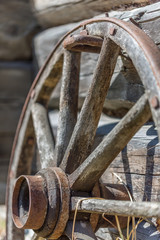 Old Wheel to the cannon. Close-Up