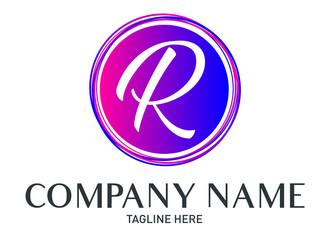 Round Letter R Logo Gradient Trendy Modern Template Design