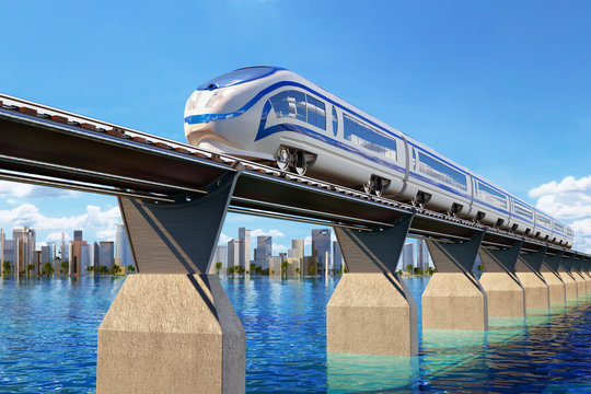 Railway transport concept, high speed modern train on the railroad bridge through the water landscape and the city on the horizon