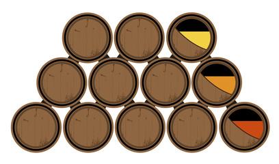Barricas de vino roble. Sistema de soleras y criaderas