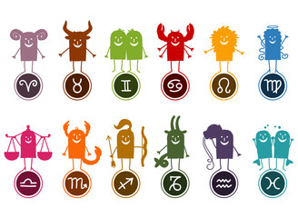 Twelve Zodiac Silhouette Cartoon Signs