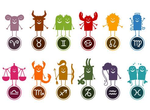 Twelve Zodiac Silhouette Cartoon Signs