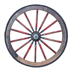 wooden wheel isolated on white background with clipping path included
