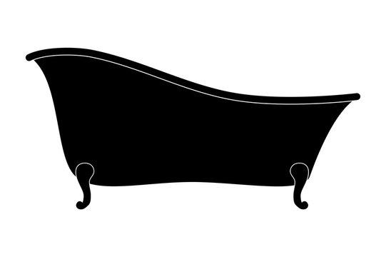 Cartoon empty bathtub silhouette isolated on white background