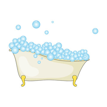 Cartoon bathtub with foam and bubble isolated on white background