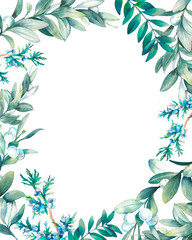 Watercolor frame design with various green plants isolated on white background. Hand drawn natural card with branches, leaves and berries. Oval wreath