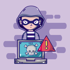 Hacker with cybercrime symbols