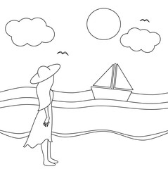 cute cartoon vector black and white illustration with girl watching the sea in a sunny day