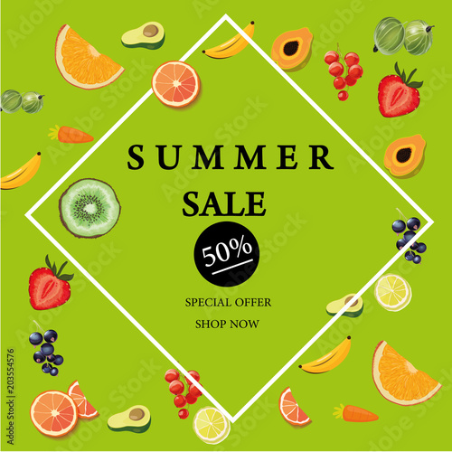 summer sale banner with pieces of ripe fruit bright design vector