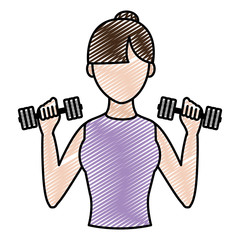 doodle fitness woman training with dumbbels in her hands