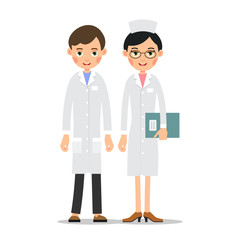 Doctors. Doctor man and woman in uniform. Cartoon illustration isolated on white background in flat style. Full length portrait of doctor, nurse or medical assistant