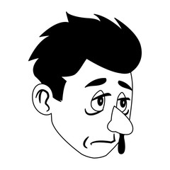 Sick man face cartoon vector illustration graphic design