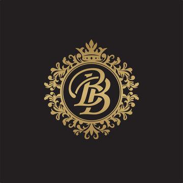 Initial letter BB, overlapping monogram logo, decorative ornament badge, elegant luxury golden color