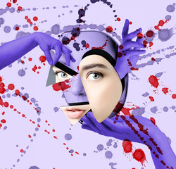 Conceptual modern poster: plastic surgery of the face. .