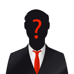 Male silhouette profile. Businessman with question mark
