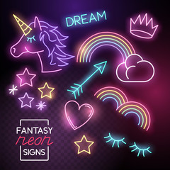 Fantasy Neon lights set including unicorns and rainbows. Vector illustration.