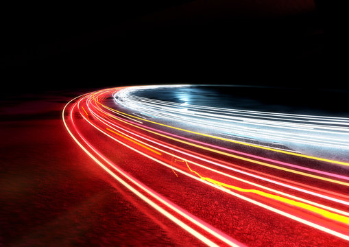 Curved car traffic light trails. 3D illustration