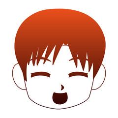 Manga boy face cartoon vector illustration graphic design