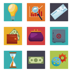 Set of money and bank icons collection vector illustration graphic design