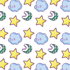 sparkly star with happy cloud and videogame plant background