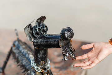 Woman touch cuty little statue of a dog