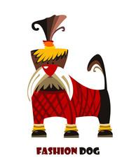Cute dog. Cartoon. Fashion