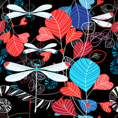 Seamless pattern illustration of summer leaves and dragonfly