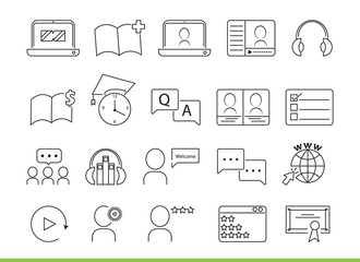 Online Education icons isolated vector illustration design